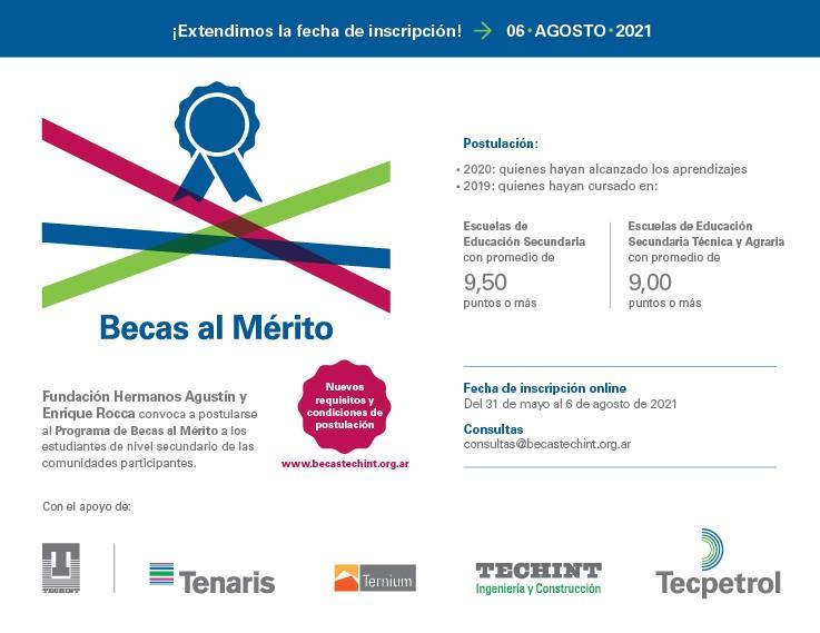Continúan abiertas las inscripciones para las Becas al Mérito de Tenaris y la Fundación Hermanos Agustín y Enrique Rocca