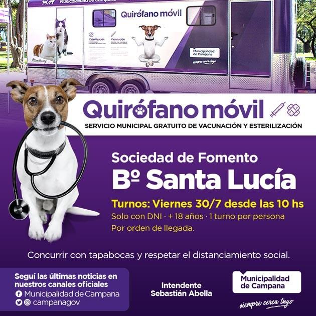 Castraciones gratuitas: el quirófano móvil visitará Santa Lucía