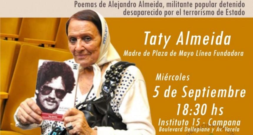 Taty Almeida llega al Instituto Nº 15 el 5 de Setiembre