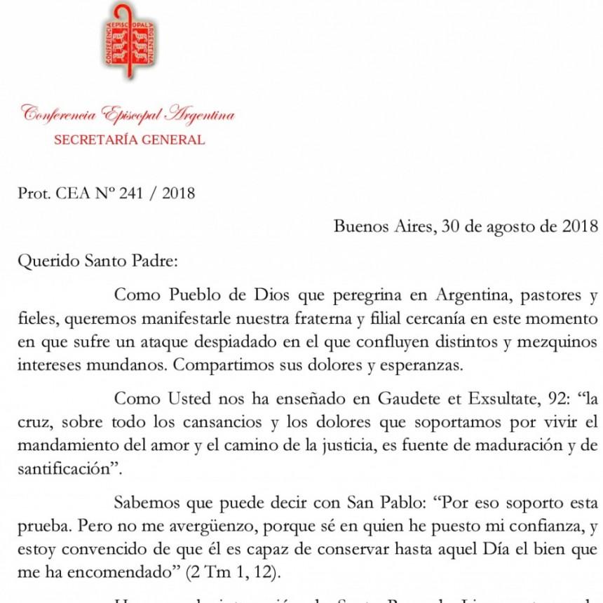 Carta en texto y de la Comisión Ejecutiva de la Conferencia Episcopal Argentina dirigida al Papa Francisco
