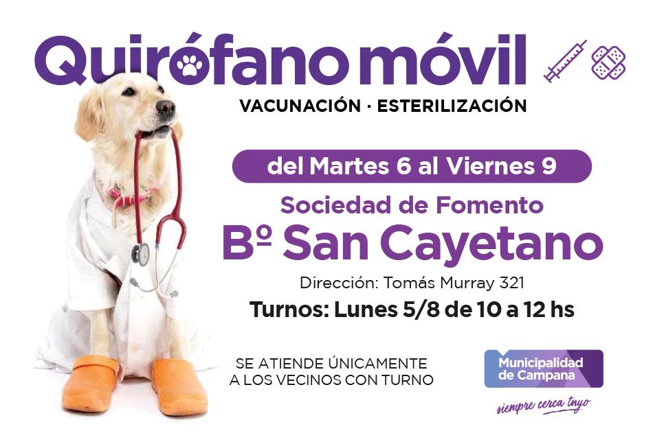 Quirófano móvil: la semana próxima realizará castraciones en San Cayetano