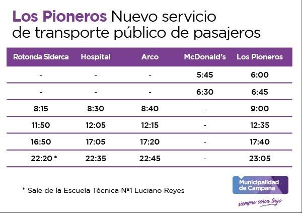 Por primera vez, Los Pioneros tendrá servicio de transporte público de pasajeros