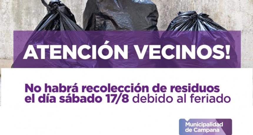 Este sábado no habrá recolección de residuos
