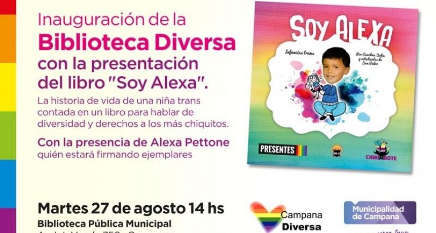 """Con la presentación del libro """"Soy Alexa"""", se inaugurará la Biblioteca Diversa"""