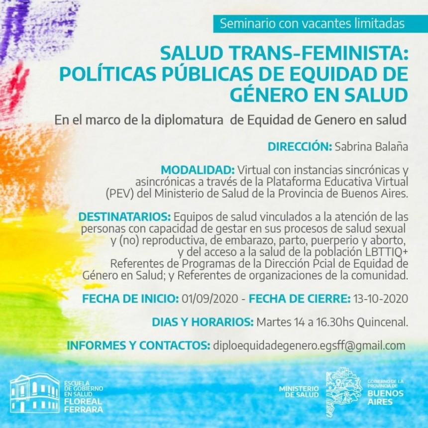 Se abrió la inscripción al Seminario Salud Trans- Feminista: Políticas Públicas de Equidad de Género