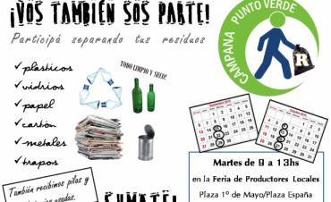 """Junto a los Productores Locales, """"Campana Punto Verde hoy en la Plaza """"1° de Mayo"""""""