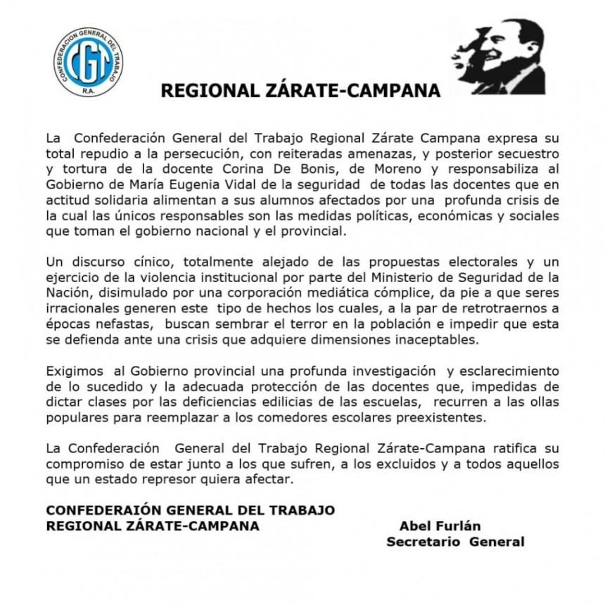 Con referencia a lo acontecido con la docente de Moreno la CGT Regional Zàrate-Campana emitiò un comunicado
