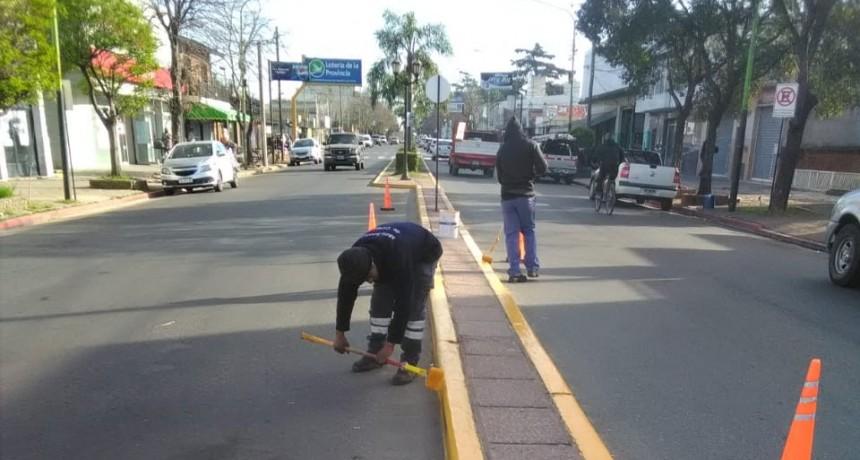 Realizan trabajos de pinturas para la señalización horizontal en la vía pública