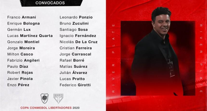 Los convocados de River Plate para recibir a Sao Paulo