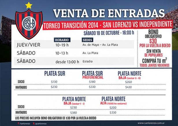 Comenzó la venta anticipada para San Lorenzo de Almagro vs Independiente