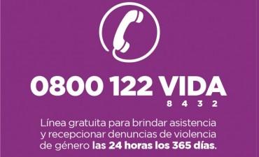 Está disponible el 0800 122 VIDA para asistir a las víctimas de violencia de género