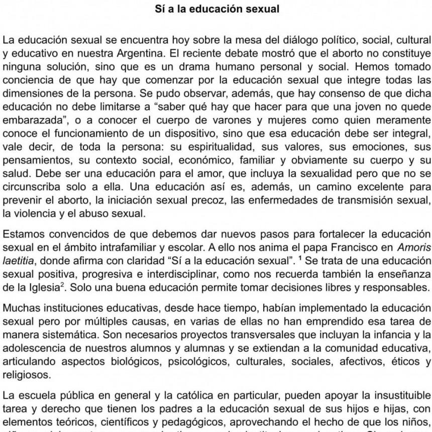 Sí a la educación sexual 3 de octubre de 2018 Comisión Episcopal de Educación Católica Comisión Episcopal de Laicos y Familia Conferencia Episcopal Argentina