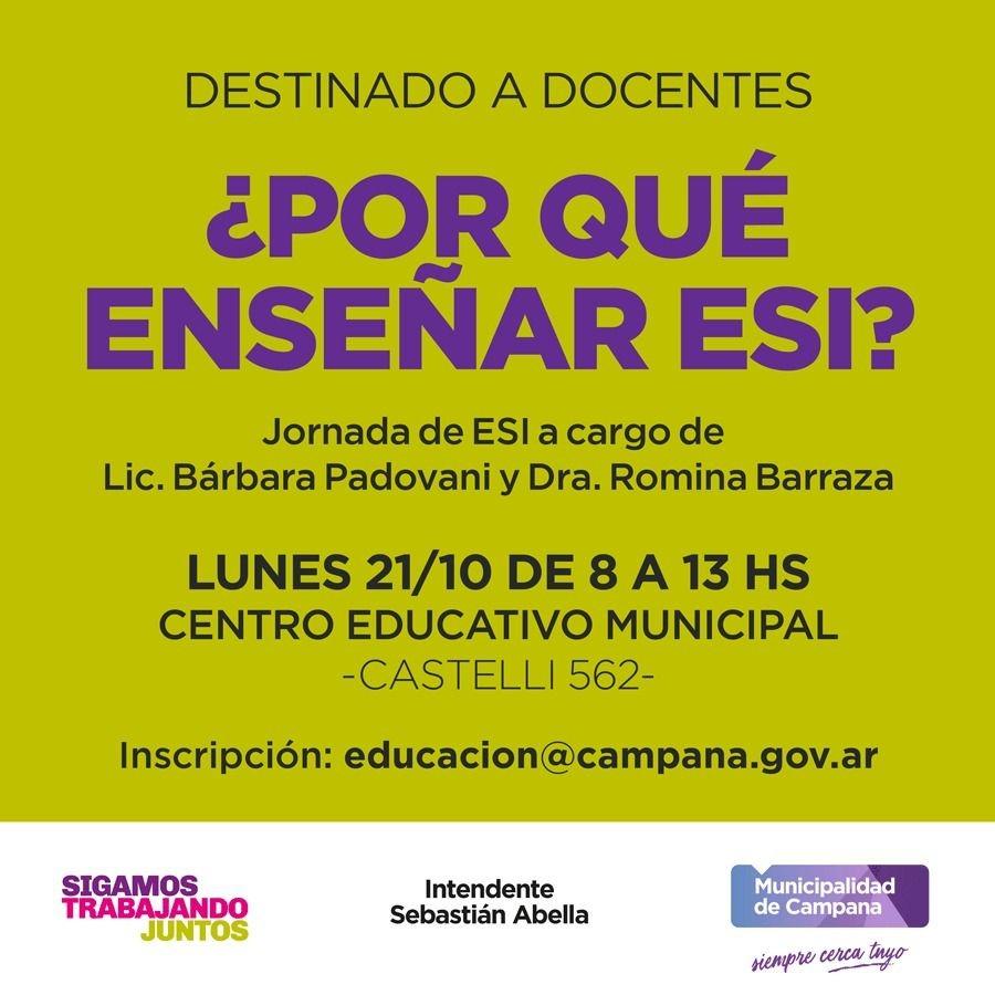 Se realizará una jornada sobre Educación Sexual Integral para docentes