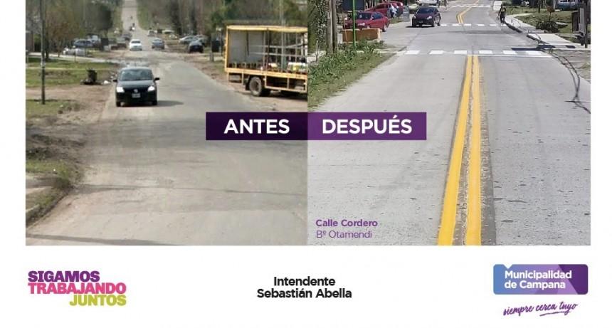 Seguridad vial: pintan líneas demarcatorias en la calle de acceso a Otamendi