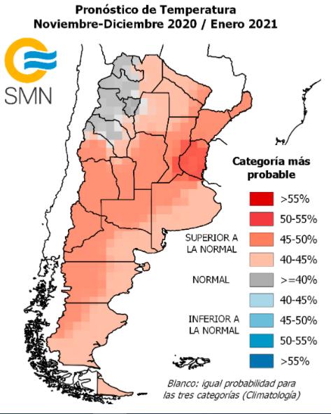 Pronóstico climático para noviembre-diciembre-enero 2020/2021  Informe del S.M.N
