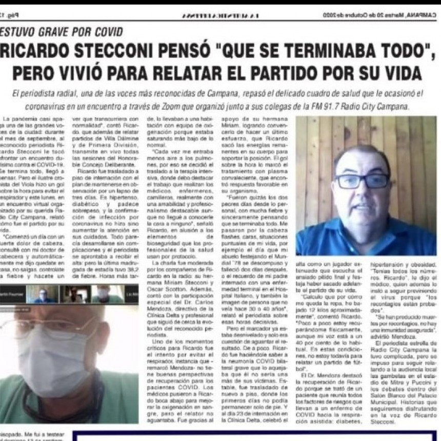 En primera persona : El relato de Ricardo Stecconi recuperado COVID-19 y su relato en vivo por Radio City Campana FM 91.7 Mhz