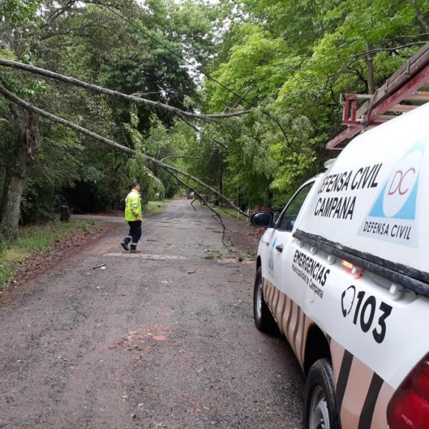 Intenso trabajo de Defensa Civil ante las fuertes tormentas