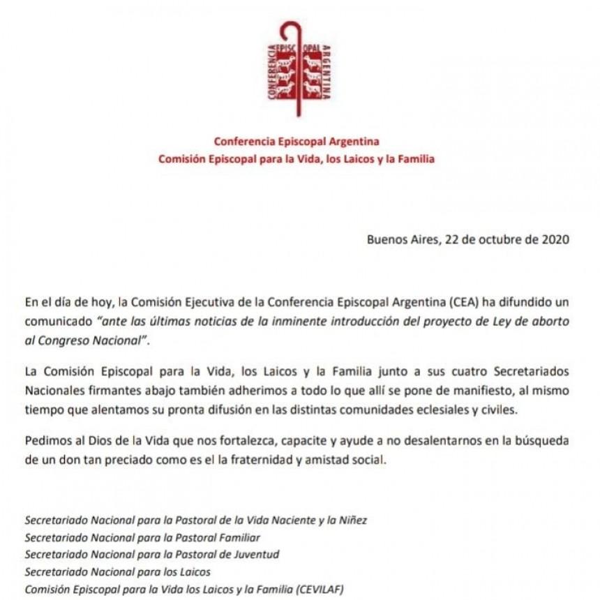la Comisión Ejecutiva de la Conferencia Episcopal Argentina (CEA) ha difundido un comunicado