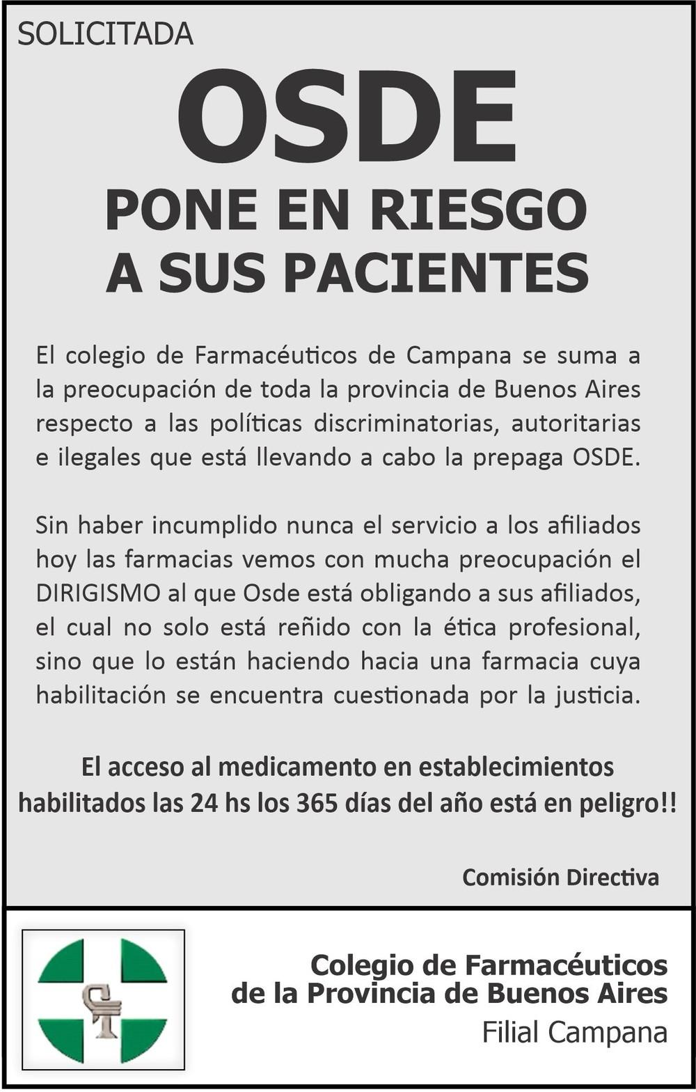 El Colegio de Farmacéuticos de Campana emitió un comunicado
