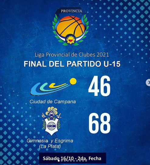 Liga Provincial de Clubes 2021 : Ciudad fue derrotado por Gimnasia y Esgrima (LP)