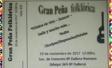 Peña Folklòrica a beneficio en la Sociedad de Fomento de Barrios Dallera-Romano