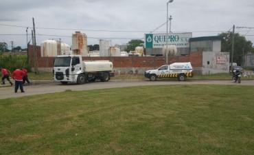 El Municipio intervino ante un derrame de la ex Quipro