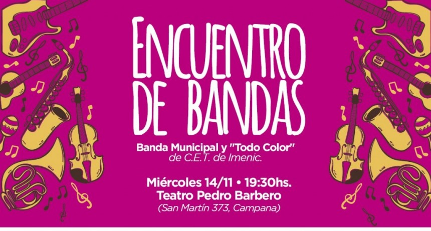 Un encuentro de bandas llega al Teatro Pedro Barbero