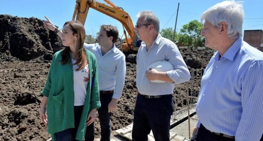 MARÍA EUGENIA VIDAL RECORRIÓ LA OBRA HIDRÁULICA DEL ARROYO TRES HORQUETAS EN SAN FERNANDO