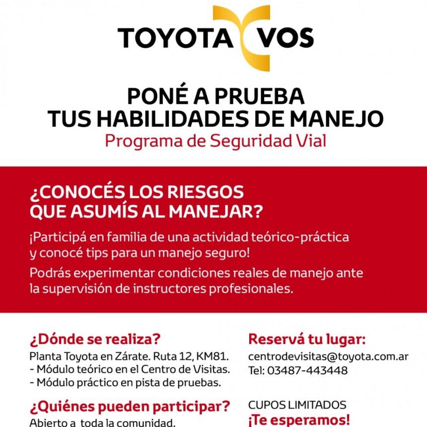 """Toyota invita a la comunidad a participar de """"Toyota y Vos"""", el programa de manejo seguro"""