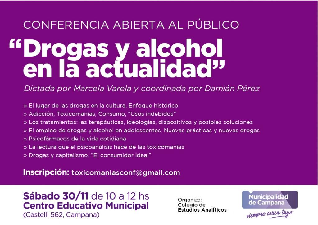 """Se realizará una conferencia abierta al público sobre """"Drogas y alcohol en la actualidad"""""""