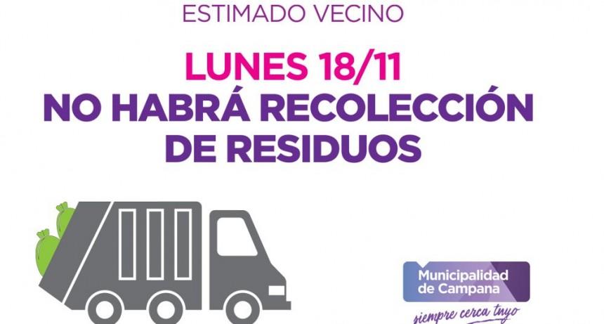 Este lunes 18 no habrá recolección de residuos