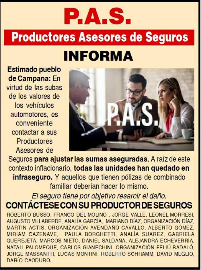 P.A.S :  PRODUCTORES DE SEGUROS DE CAMPANA INFORMA