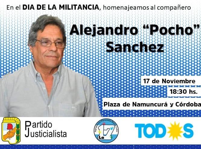 """En el Día de la Militancia homenajearán a """"Pocho"""" Sánchez"""