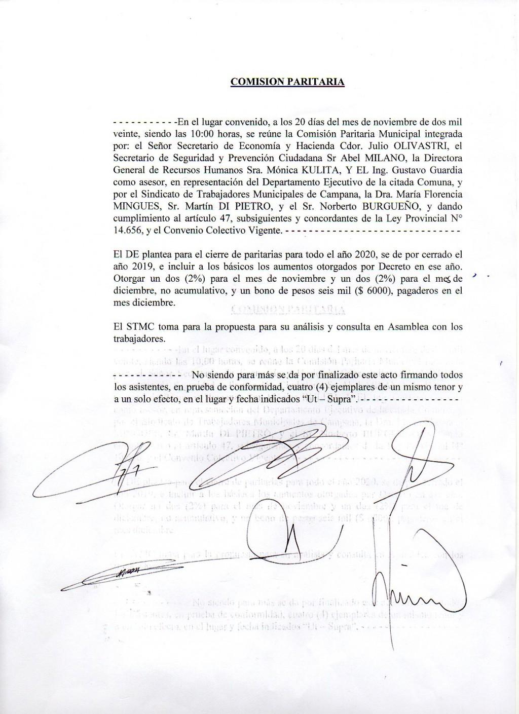 Comunicado de Prensa. 21/11/2020.-  Nueva reunión Paritaria Municipal