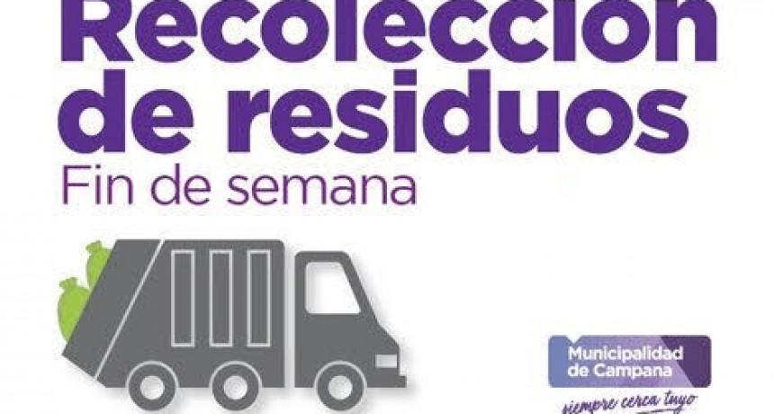 Este fin de semana no habrá servicio de recolección de residuos
