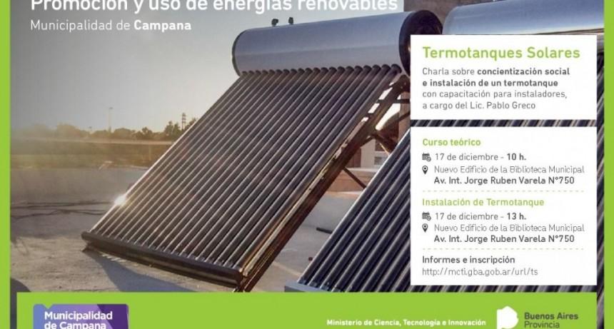 Se realizará una capacitación gratuita sobre termotanques solares