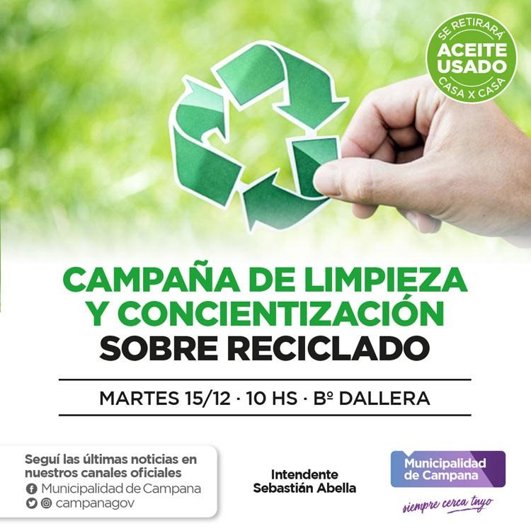 Se realizará una campaña de limpieza y concientización sobre reciclado en Dallera