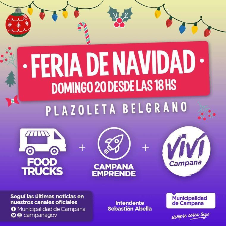 Se viene una feria navideña en la plazoleta Belgrano