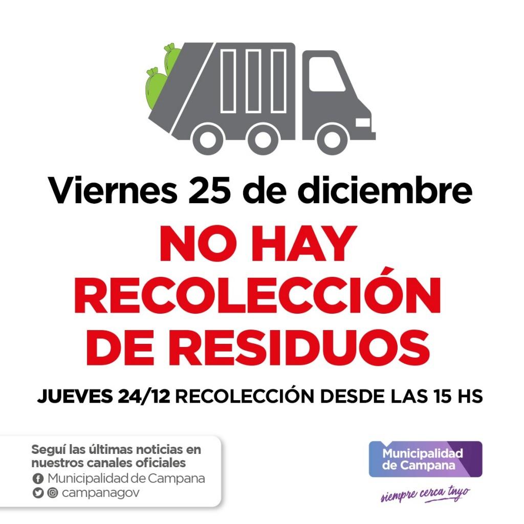 Cronograma de recolección de residuos para Navidad